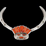 VINTAGE Mexican Damaso Gallegos 950 Silver, Orange Spiny Oyster Aztec Face Collar Necklace. C. 1930-40s