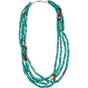 Vintage Four Strand Turquoise, Coral with Sterling Silver Beads Necklace