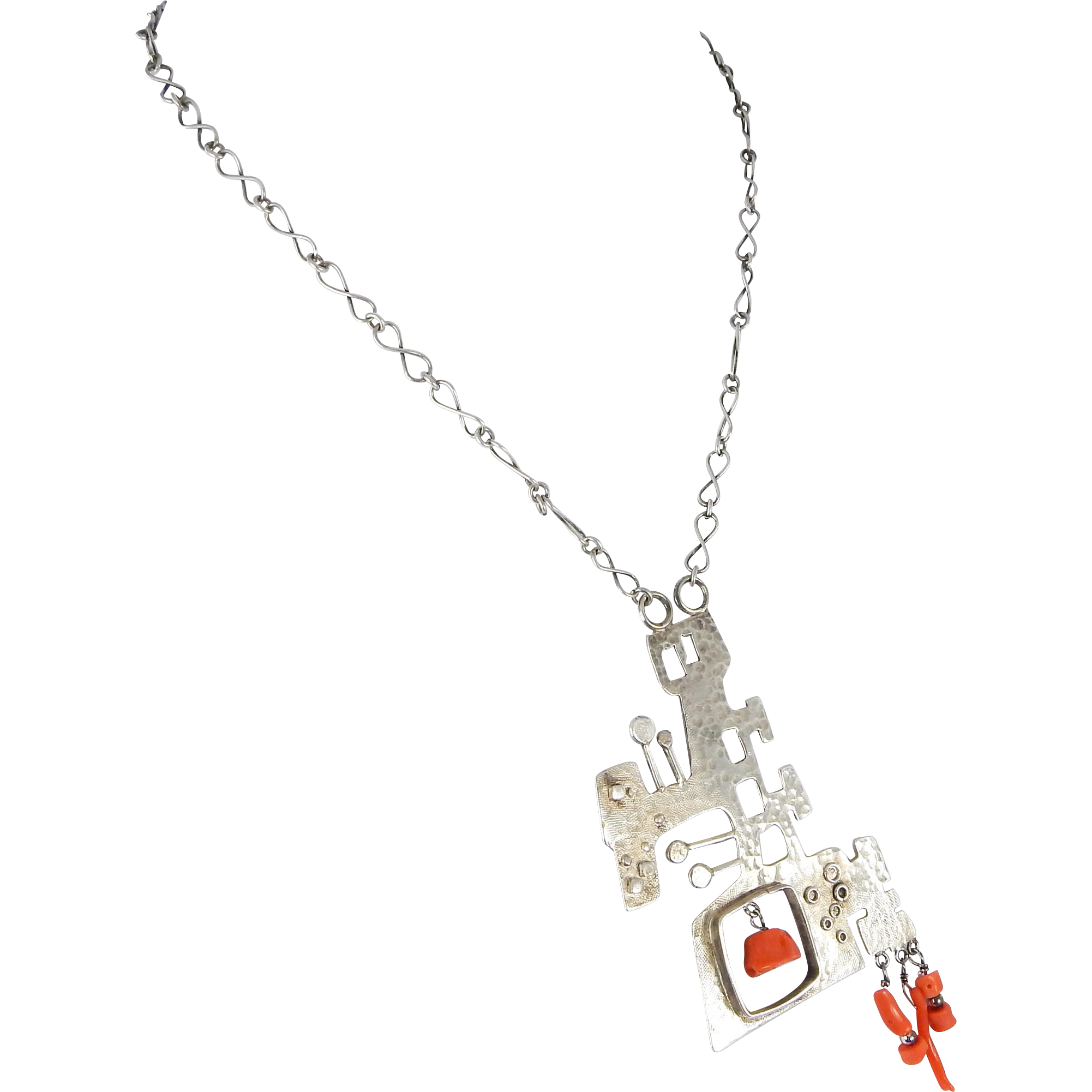 "Modernist ""Brutalist"" Sterling& Coral Pendant Necklace C ..."