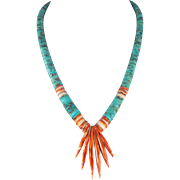 Kewa/Santo Domingo – Turquoise & Spiny Oyster Shell Necklace
