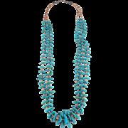 Santo Domingo - 3 Strand Turquoise & Olive Shell Heishi Bead Necklace.