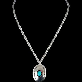 Navajo – Manuel Lewis & White Hogan Shop Pendant Necklace