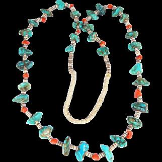 Santo Domingo/Kewa - Turquoise, Coral and Heishi Shell Necklace
