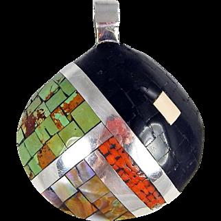 Santo Domingo/Kewa – Mary C. Lovato Sterling and Multi Stone Mosaic Shell Pendant