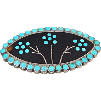 Zuni – Virgil Dishta Sr., Sterling, Turquoise & Brown Shell Channel Inlay Pin. C. 1950-60s