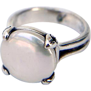 Sterling Silver Ring with Button Pearl by Bask