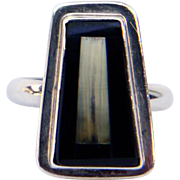 Sterling Silver with Black Jet and Mother-Of-Pearl Ring