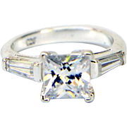 Sterling Silver with Square & Baguette Cubic Zirconia Ring