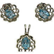 Sterling Silver & Blue Topez pendant and earrings set