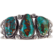 Navajo – Tom David, Sterling Silver & High Grade Pilot Mountain Turquoise Bracelet C. 1970s