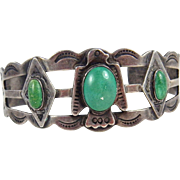 Fred Harvey Era – Desert Gem Shop – Sterling Silver & Turquoise bracelet. C. 1940s