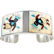 Zuni – Tony Ohmsatte Sterling Multi Stone Inlay Apache Dancer Bracelet