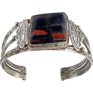Navajo – Sterling Silver and Petrified Wood Bracelet C. 1930-40s