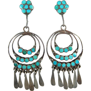 Zuni – Frank Dishta, Sterling Silver & Turquoise Channel Inlay Hoop Earrings c. 1940-50s