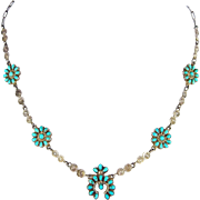 Zuni – Sterling and Turquoise Petit Point Necklace C. 1940s