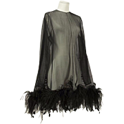 A 1968 Givenchy Haute Couture Black Organza and Feather Dress