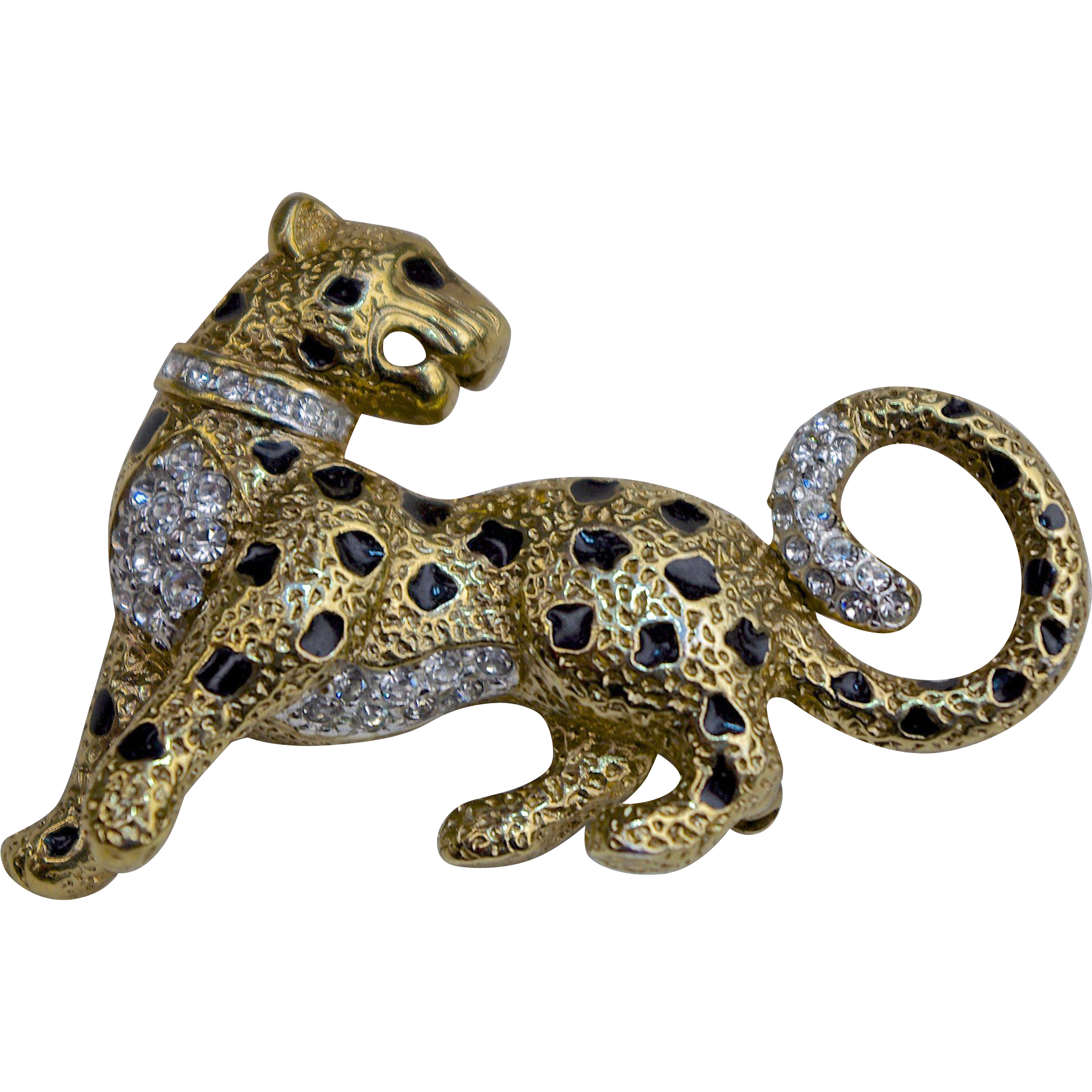 A Vintage Leopard Brooch Pin Of Gilt Enamel Swarovski Crystals From The Attwood Sawyer Ss Windsor Collection