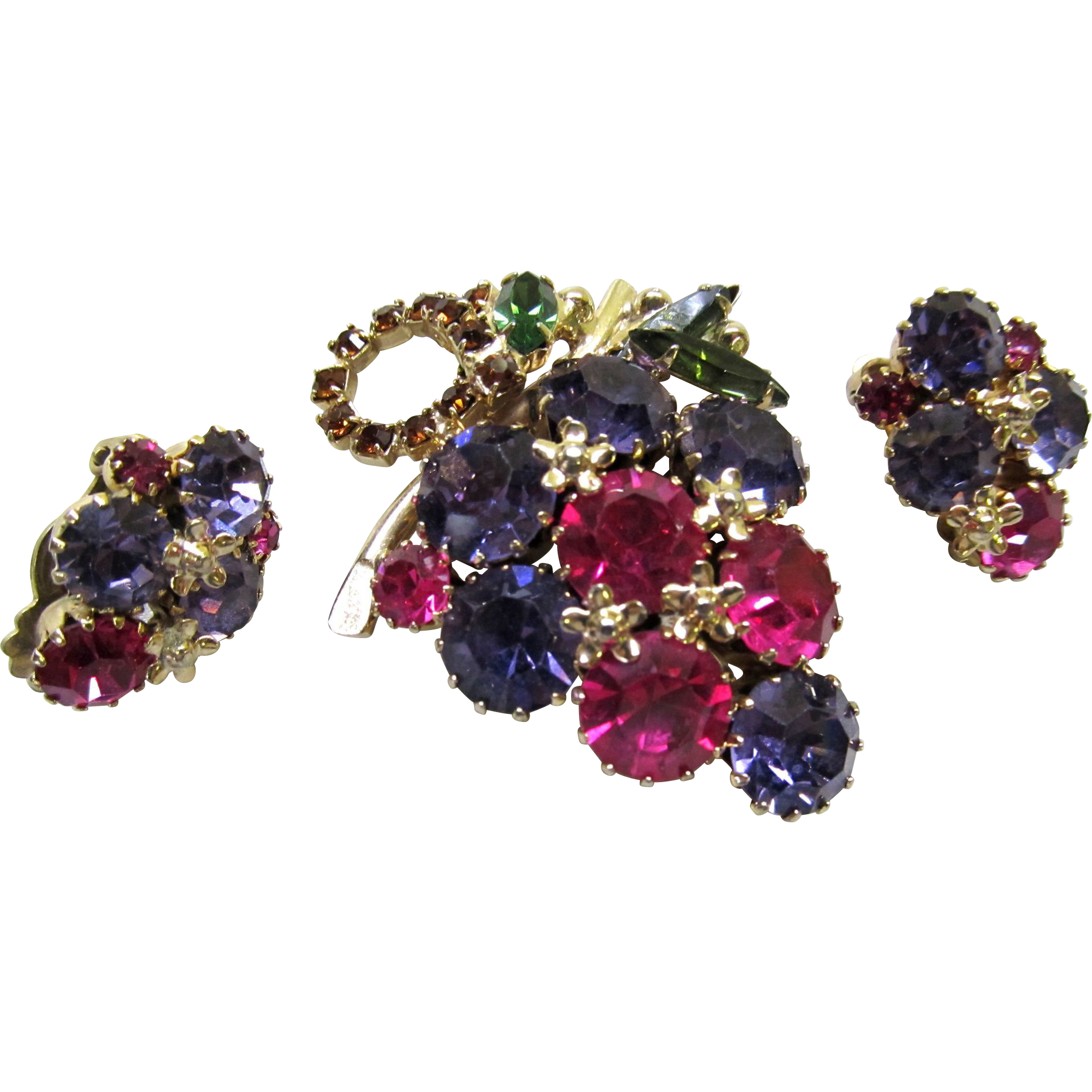 Weiss Colorful Brooch Earrings Rhinestone Cluster Set Gold Tone J2239 ...