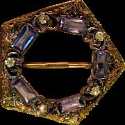 Czechoslovakia Old Vintage Rhinestone Gold Tone Belt Buckle J2560