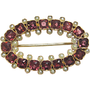 1880's Victorian 14K Yellow Gold Natural Red Rhodolite Garnet And Natural Pearl Brooch