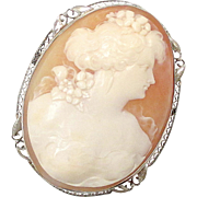 Wonderful 14K White Gold Coral Cameo Brooch