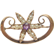 1890's Victorian 10K Yellow Gold 0.15 Ct Natural Purple Amethyst And Natural Pearl Brooch