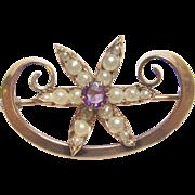 Very Pretty 10K Yellow Gold Seed Pearl & Purple Glass Flower Brooch