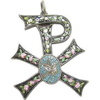 1890's Victorian Sterling Silver Micro Mosaic Bird Chi Rho Greek Christogram Pendant