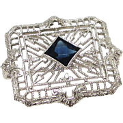Beautiful 10K White Gold Synthetic Sapphire Filigree Brooch