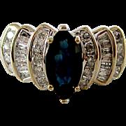 Beautiful 14K White Gold Sapphire & Diamond Ring