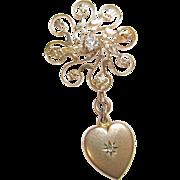1900's Edwardian 14K Yellow Gold 0.16 Ct Mine Cut Diamond Brooch With 10K Heart Charm