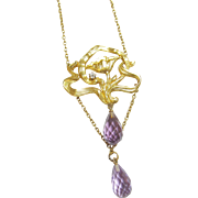 1890's Art Nouveau 14K Yellow Gold Natural Briolette Purple Amethyst And Diamond Pendant 4.00 Cts