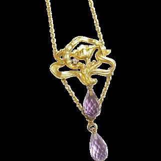 1890's Art Nouveau 14K Yellow Gold Natural Briolette Purple Amethyst And Diamond Pendant 4.00 Cts