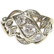 Beautiful 14K Yellow & White Gold Three Different Diamond Cut Ring