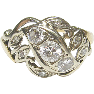 1930's Vintage 14K Yellow And White Gold 0.20 Ct European Cut Diamond Ring 0.50 Cts Total