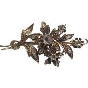1900's Edwardian 14K Yellow Gold 17 Rose Cut Diamond Floral Brooch 0.50 Cts