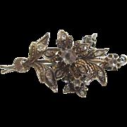 Wonderful 14K Yellow Gold Rose Cut Diamond Flower Brooch
