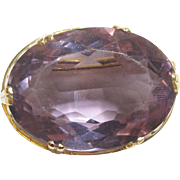 1960's Vintage 14K Yellow Gold 18.50 Ct Natural Oval Purple Amethyst Brooch