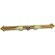 1910's Art Nouveau 14K Yellow Gold 0.15 Ct Natural Purple Amethyst And Enamel Bar Pin Brooch