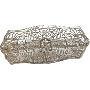 Gorgeous Estate 14K White Gold Diamond Filigree Brooch