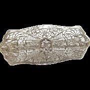 1930's Vintage 14K White Gold 0.16 Ct European Cut Diamond Filigree Brooch