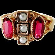 Wonderful 10K Yellow Gold Garnet Doublet & Faux Pearl Ring