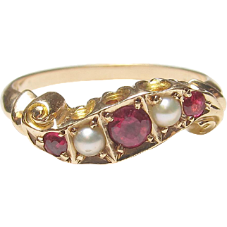 Very Nice 14K Yellow Gold Red Quartz & Cultured Pearl Ring