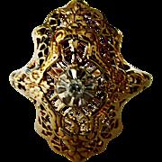 Very Pretty 10K Yellow & White Gold Diamond Filigree Ring