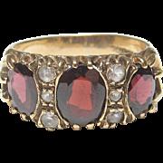 Wonderful Estate 10K Yellow Gold Garnet & White Sapphire Ring