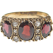 1900's Edwardian 9K Yellow Gold Natural Oval Red Garnet And White Topaz Ring 3.00 Cts