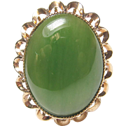 Very Pretty 14K Yellow Gold Large Green Jade Ring