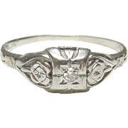1930's Vintage 10K White Gold 0.02 Ct Single Cut Diamond Ring