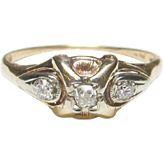 1930's Vintage 14K Yellow And White Gold 0.04 Ct Mine Cut Diamond Ring 0.10 Cts Total