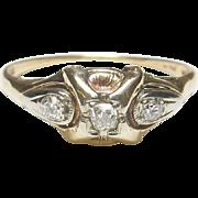Beautiful 14K Yellow & White Gold Mine & European Cut Diamond Ring